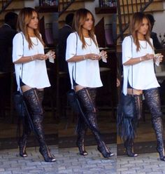 or Hmm…: Karrueche Tran's Just Keke Topshop Side Slit Tee, Gucci Shorts, and Tom Ford Spring 2014 Lace Up Thigh High Boots via Club Outfits, Swag Outfits, Fall Outfits, Casual Outfits, Fashion Outfits, Women's Fashion, Fashion Lookbook, Fashion News, Lace Thigh High Boots
