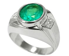 Mens emerald rings white gold
