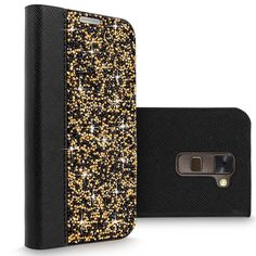 LG Stylus 2 Case, LG G Stylo 2 Case, Cellularvilla Luxury Rock Crystal Rhinestone PU Leather Diamond Wallet Case [Card Slot] Flip Protective Cover for LG G Stylo 2 / LG Stylus 2 LS775 (Black Gold). Specially designed for LG G Stylo 2 / LG Stylus 2 LS775. Durable PU Synthetic leather Studded with Diamond Rock Crystal Rhinestone. Made with premium quality synthetic leather + Hard PC material protects from drops and shocks. Horizontal stand can be made for video watching and easy. Wallet…