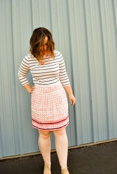 Target striped top, Loft tribal skirt, nude oxford shoes. Great work and play outfit. Summer and spring outfit. www.justjacq.com-@thejustjacq