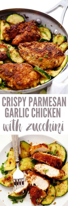 Crispy Parmesan Garlic Chicken with Zucchini is a fantastic one pan meal that the family will love! The chicken is so tender and breaded with an amazing parmesan garlic crust and the zucchini is sauted in a delicious buttery parmesan garlic! paleo lunch low carb