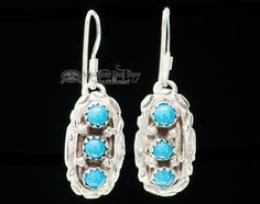 Turquoise Native American Silver Earrings -Zuni (ij416)
