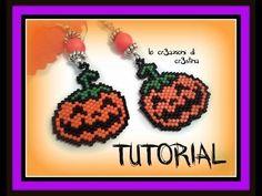 ▶ Tutorial Halloween - Orecchini con Ciondolo Zucca Peyote e Brick Stitch (1 Parte) - YouTube