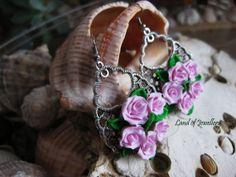 Handmade flower polymer clay earrings, polymer clay jewelry