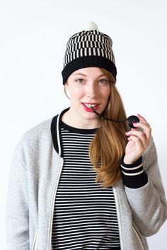 Knit Hat Frankie - Striped Pompom Beanie Hat in black and white made of finest merino wool - knitted by MARGOT & ME White Caps, Knitting Accessories, Striped Knit, Stripes Design, Winter Collection, Beanie Hats, Knitted Hats, Knitwear, Trending Outfits