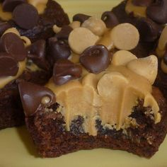 Peanut Butter Brownie Bites....brownie batter in muffin tins....bake 350 for 15 minutes (should be soft-set), let cool until center falls.  Melt peanut butter for 35 seconds in microwave and spoon some on top of brownies.  Top with chocolate chips and peanut butter chips.