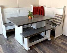 Corner Bench Kitchen Table, Kitchen Table Makeover, Farmhouse Kitchen Tables, Kitchen Seating, Kitchen Benches, Kitchen Redo, Kitchen Remodel, Kitchen Sofa, Small Kitchens