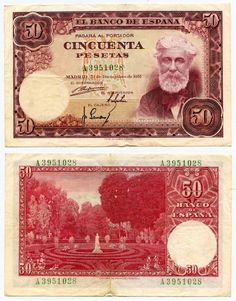 Description: A beautiful very fine or better Banknote from Spain. This is the 31 December 1951, 50 Pesetas. The banknote has lilac red image coloring on multicolor under-print. It depicts the image of