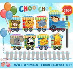 Wild Animals Train Clipart Set van 1EverythingNice op Etsy
