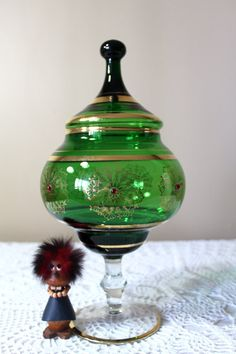 Vintage Czech Art Glass Genie Jar Bejeweled by TheGroovyMagpie Red Jewel, Gold Gilding, Apothecary Jars, Candy Jars, Glass Jars, Green, Vintage, Beautiful, Art