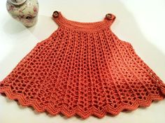 Baby Girl Dress or Top Swing Style, Watermelon Colors, Crochet Pattern PDF 12-054