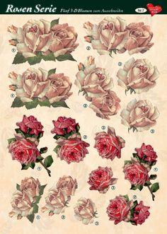 3-D Rosenserie, 5 Blumen zum Ausschneiden, Bogen Nr. 7