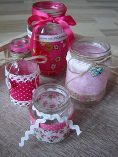 Leuke potjes Altered Bottles, Lanterns, Mason Jars, Presents, Candles, Make It Yourself, School, Glass, Creative