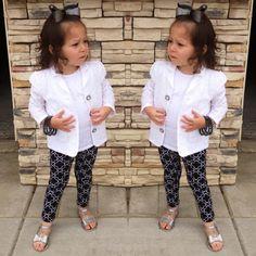 Toddler fashion! #black #white #eyeletblazer #jellys