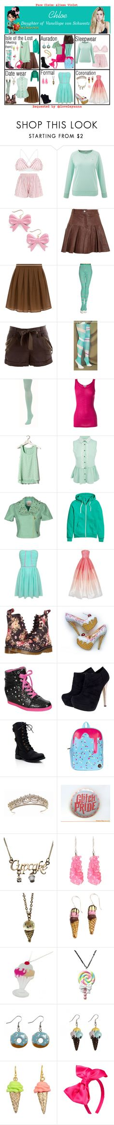 """Chloe. Daughter of Vanellope von Schweetz. Requested"" by elmoakepoke ❤ liked on Polyvore featuring Swedish Hasbeens, Thakoon Addition, Hallhuber, BCBGMAXAZRIA, We Love Colors, Clu, Pull&Bear, Maison Espin, H&M and Naeem Khan"