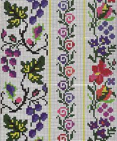 Gallery.ru / Фото #33 - Борщівські мотиви... - widpuckau Easy Cross Stitch Patterns, Simple Cross Stitch, Cross Stitch Rose, Cross Stitch Borders, Bead Loom Patterns, Cross Stitch Flowers, Cross Stitching, Cross Stitch Embroidery, Embroidery Patterns