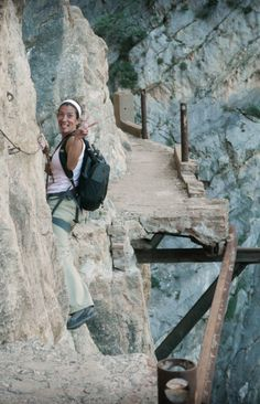 'Walking' the Via Ferrata along El Chorro Gorge >>> OMG. Could you do this? Would you do this? I would cry the entire time.