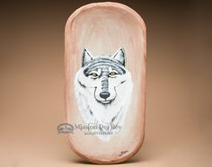 """Hand Painted Rustic Wooden Bowl 22.5"""""""" -Wolf (pb4)"""