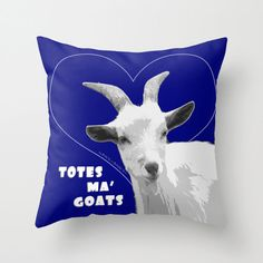 Totes Ma Goats - Blue Pillow by BacktoBasicsPillows on Etsy