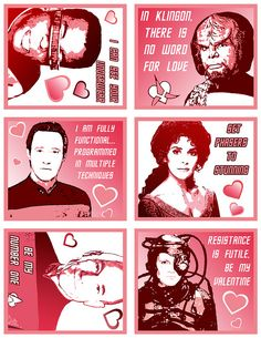 "Star Trek valentines... With phrases like ""Set phasers to stunning."" and ""Be my Number One."" these are so cheesy they're almost cute. #love #geek"