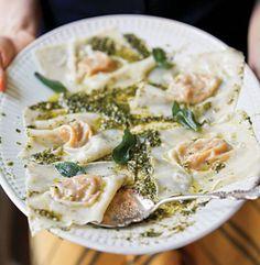 Butternut Squash Ravioli with Oregano-Hazelnut Pesto Recipe | SAVEUR