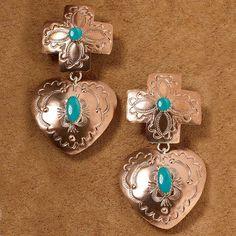Cross & Heart Earrings   King Ranch