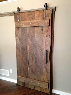 Arrow sliding barn door hardware kit by The Barn Door Hardware Store. This interior barn door hardware kit is in stock! Reclaimed Doors, Reclaimed Lumber, Rustic Barn Doors, Barnwood Doors, Barn Style Doors, Wooden Doors, Wood Door Frame, Barn Wood Decor, Old Barn Doors