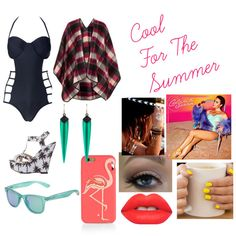 Cool For The Summer by luanamarinho on Polyvore featuring moda, Topshop, Charlotte Russe, Alexis Bittar, Kate Spade, Flash Tattoos, Polaroid and Lime Crime