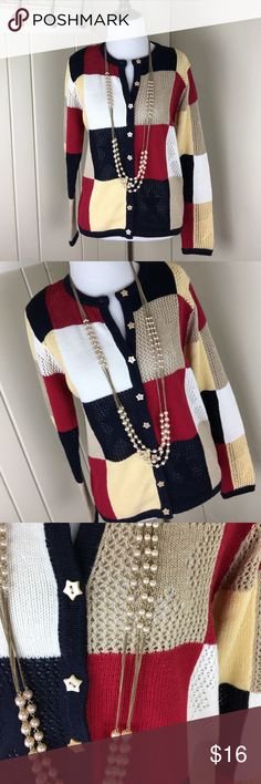 LAST CHANCE ❤️Patriotic star patchwork sweater Only worn a couple of times. Star buttons! Patriotic, warm and great condition! Size small, could fit a medium as well. Add only $12 if you'd like the necklace as well. Super small shoulder pads but they could easily be removed. Christopher & Banks Sweaters
