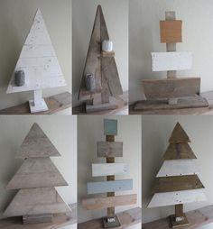 New handmade wooden christmas trees
