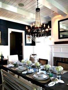 Rustic Charm, Modern Influence, dining room lighting - LOVE THIS!!