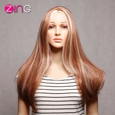 China Zing Synthetic Wigs Cosplay Long Straight Light Brown And White Mixed Color Perruque Synthetic Women Cabelo Sintetico Wig