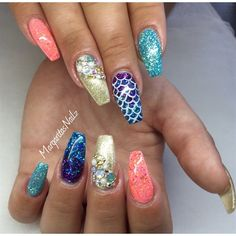 Mermaid Coffin Nails  by MargaritasNailz from Nail Art Gallery