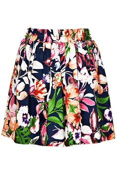 #Romwe Riveted Floral Skirt
