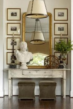 decorating around a large mirror