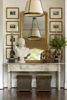 decorating around a large mirror
