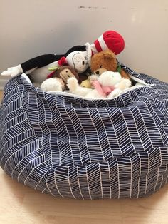Stuffed Animal Storage Pillow Patterned