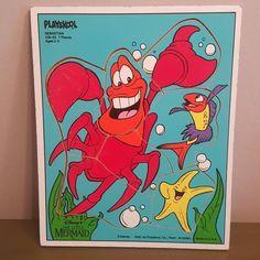 Vintage Playskool Little Mermaid Sebastian 7 PC Wooden Disney Puzzle Under Sea