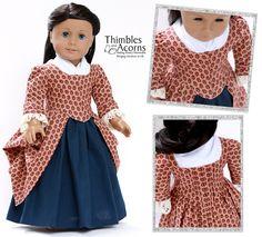 """1770 En Forreau' Gown 18"""" Dolls Intermediate $9"""