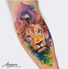 41 trendy Ideas tattoo lion sleeve water colors 41 trendy Ideas tattoo lion sleeve water colors This image has. Leo Tattoos, Future Tattoos, Body Art Tattoos, Girl Tattoos, Tattoos For Guys, Tatoos, Tattoos Skull, Trendy Tattoos, Unique Tattoos