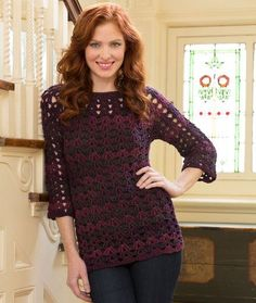 Free crochet pattern for women, designed by Lorene Eppolite for Red Heart Crochet. The Mystique Tunic comes in 6 sizes.