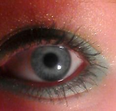 teal and gold dressy eye! Created by moi!!!!!<3 (caroline oleary!)