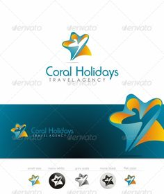Coral Holidays  Travel Agency template logo — Vector EPS #coral #holiday • Available here → https://graphicriver.net/item/coral-holidays-travel-agency-template-logo/2714359?ref=pxcr