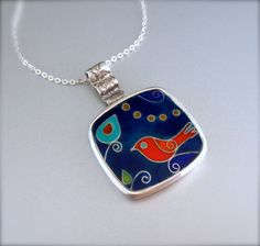 Red Bird cloisonne enamel pendant by agoraart on Etsy, $155.00