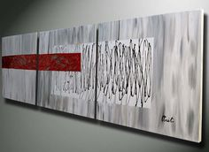 RED Modern Abstract, Abstract paintings, Abstracts, Original Acrylics LARGE Painting 60 20 red silver gray heavy texture canvas fine art