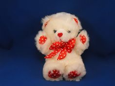 New product 'Kids of America White Bear Heart Print Red Satin Bow Heart Nose' added to Dirty Butter Plush Animal Shoppe! - $8.00 - Kids of America Plush 10 inch Seated White Fur Bear - White Heart Print Red Satin Ears, Hands, Feet, Large Bow - Red Flo…