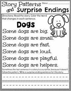 Kindergarten Writing Worksheets - Story Patterns and Surprise Endings pg 1 #planningplaytime #kindergartenworksheets #writingworksheets #kindergartenwriting