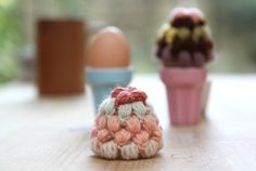 A Pair of Crochet Granny Square Egg Cozies For Charity