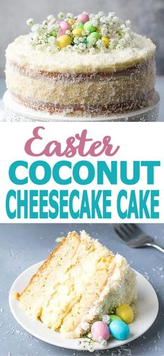 Coconut cheesecake cake two layers of sweet coconut cake with a cheesecake in the middle covered with light cream cheese frosting for a gorgeous and lazy naked cake look this cake is perfect for spring and easter the 11 best easter cupcake recipes Easter Cheesecake, Coconut Cheesecake, Cheesecake Cake, Cheesecake Recipes, Desserts Ostern, Köstliche Desserts, Easter Desserts, Easter Food, Easter Treats