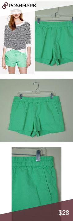 "🌷J Crew Solid Green Elastic Waist Pull On Shorts Excellent Pre-loved Condition! J Crew Women's Solid Green Elastic Waist Pull On Shorts 10"" Rise   Size: Women's 8 Measured laying down flat: 12"" long, 10"" rise, 3"" inseam, 16.5"" across waist, 20.5"" across hips Material: 100% Cotton Description: Pull on shorts with elastic waist band, front pockets, flat front, bright vibrant green, soft and slightly stretchy  Comes from a Smoke Free Home J. Crew Shorts"